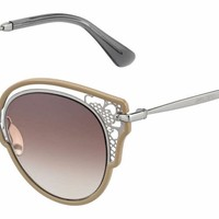 Jimmy Choo - Dhelia S Nude Palladium Sunglasses / Brown Mirror Gradient Lenses