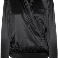 T by Alexander Wang - Wrap-effect silk-charmeuse bodysuit