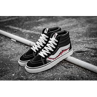Vans x BAPE SHARK Customs SK8-Hi Black White High Top Men Flats Shoes Canvas Sneakers Women Sport Shoes-1