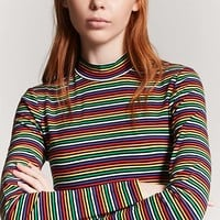 Multistripe Mock Neck Top