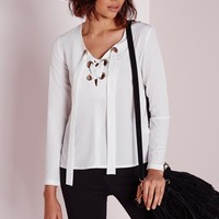 Missguided - Eyelet Tie Blouse Ivory