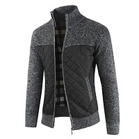 Copy of New Men'S Plaid Patchwork O-Neck Sweater Tops Male Autumn Winter Sexy Slim Fit Red Black Solid Color Sweaters Pullovers