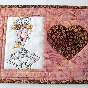 Nurse Mug Rug - Quilted Mug Rug - Coffee Snack Mat - Pink Brown Mug Rug - Nifty Nurse Loralie - Graduation Gift