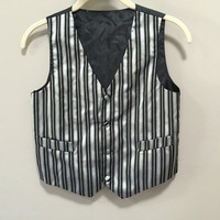 Boys Formal Vest, Youth Suit Vest, Silver Black Formal Boys Vest, Vintage Kids Formal Event Clothing Boys Vintage Vest Striped Vest Boys 10