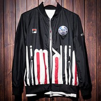 FILA 2019 new street fashion men's sports baseball uniform jacket black