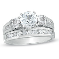 Lab-Created White Sapphire Three Stone Ring Set in Sterling Silver - Size 7