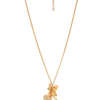 FOREVER 21 Whimsical Charm Necklace Gold/Peach One