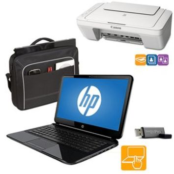 """Walmart: HP 15.6"""" Touchscreen Laptop with Printer, Case and Flash Drive Value Bundle"""