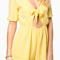 Yellow Bowknot V-Neck Cut Out Romper