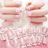 24 Pcs/Set 3D Fake Nails With Glue Wedding Bride Full Nail Tips Middle-Long Cute French False Nails  @ME88