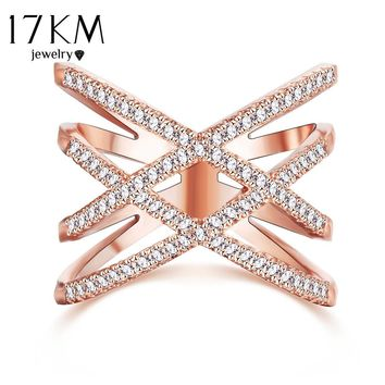 17KM New Fashion Wedding Love Rings for Women Double Letter X Shape Ring Zirconia Micro Paved Silver Color Women Anel anillo
