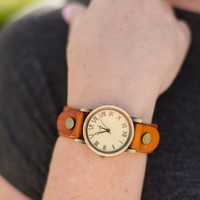 Another Time Leather Cuff Watch