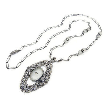 Art Deco Necklace, Camphor Glass, Silver Tone, Rhodium Plated, Filigree, Frosted Glass, Art Deco Jewelry, Camphor Necklace, Vintage Necklace