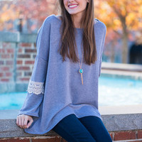 All Day Crochet Top, Gray
