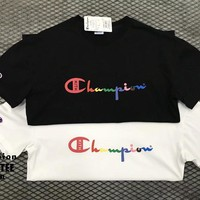 """Champion x Kith"" Unisex Casual Rainbow Letter Print Couple Short Sleeve T-shirt Top Tee"