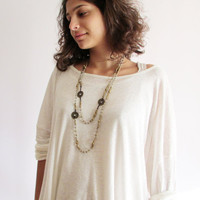 Long Boho Necklace, Glass and Brass Beads, Layered Beadwork Ethnic Africa Urban Natural Jewelry
