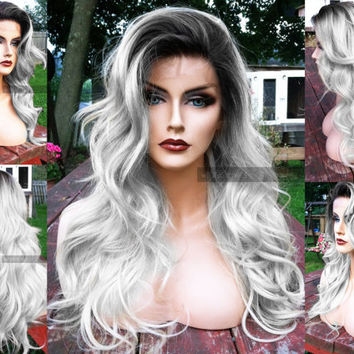 "U.S.A. // 20"" Long Silver White Heat SAFE Ombre Grey / Gray Lace Front & Skin Top Part Wavy Platinum Wig w/ Dark Root"