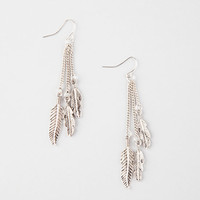 Full Tilt Linear Drop Leaf Earrings Antique Silver One Size For Women 26576158201