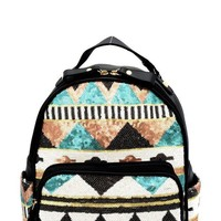 Boho Tribal Design Aqua Sequin Backpack