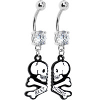 Clear Gem Two White Skulls Best Friends Dangle Belly Ring Set   Body Candy Body Jewelry