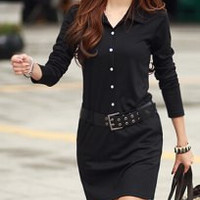 Black Turn-Down Collar Long Sleeve Dress With Belt
