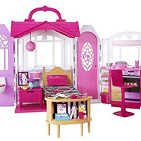 NEW Barbie Glam Getaway House Mansion Pink w/Furniture Folding Playset