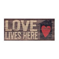 Love Lives Here Wood Plank Plaque
