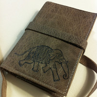small listmaker journal hand-printed leather custom for your running elephant