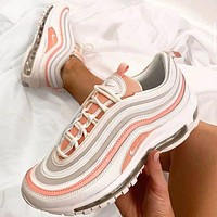 NIKE Air Max 97 Classic Women Fashionable Air Cushion Sport Running Shoes Sneakers White&Pink