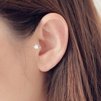 New Cute Korean Style AAA Cezch Zircon Little Star Non Piercing Clip Earring Ear Cuff Tragus Earring 2018 Femme Bijoux Brincos