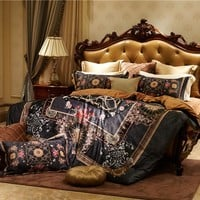 Fleece fabri Luxury Bedding Set 4Pcs King Queen Size winter warm Bed set Bohemia style black Duvet Cover Bed Sheet
