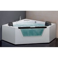 EAGO AM156 5-Feet  Corner Luxury Clear Whirlpool Hot Tub with  Heater and  Stereo