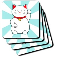 3dRose cst_201750_3 White Lucky Cat Ceramic Tile Coasters (Set of 4)