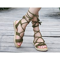 Fashionable Summer New Lady Rome Strap-on Sandals Green