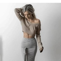 Knit Long Sleeve Tops [8341501761]