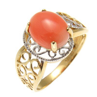 GENUINE NATURAL OVAL CABOCHON PINK CORAL RING IN SOLID 14K WHITE YELLOW GOLD