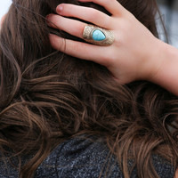 Turquoise stone on Gold ring