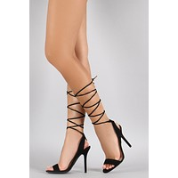 Wild Diva Lounge Gladiator Lace Up Open Toe Heel