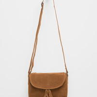 Suede Saddle Crossbody Bag Cognac One Size For Women 27348540901
