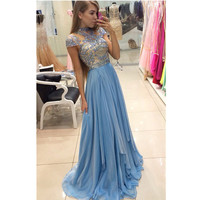 Light Sky Blue Chiffon Prom Dresses Pageant Dress A Line High Neck Beaded Cap Sleeves Plus Size Formal Party Gowns Vestidos de