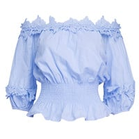 Sky Blue Off Shoulder Lace Applique Detail Peplum Blouse