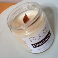 Fireplace Soy Candle - Timber Wick - Crackling Fire - Eco Soya Glass Container Winter Candle 4oz