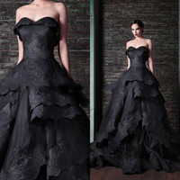 Actual Image Black Wedding Dress 2015 Gothic Victorian Long Elegant Lace Appliques Tiered Ball Gown Bridal Gowns Hot Sale