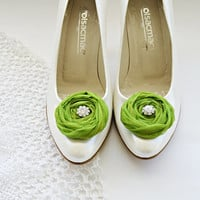 Green Chiffon Roses Shoe Clips