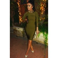 Miriam long sleeve mesh dress in Olive & Black colors