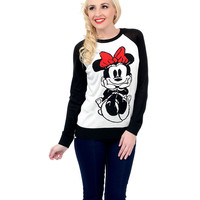 Ivory & Black Long Sleeve Minnie Mouse Knit Graphic Sweater