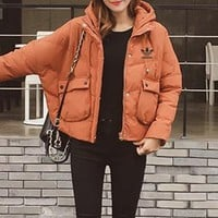 """Adidas"" Women Simple Casual Fashion Solid Color Thickened Zip Cardigan Long Sleeve Hooded Cotton-padded Clothes Coat"