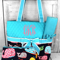 WHIMSICAL WHALE QUILTED DIAPER BAG