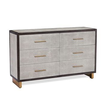 Interlude Home Maia 6 Drawer Chest in Grey