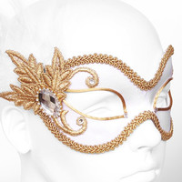 White And Gold Masquerade Mask  -  Venetian Style Mardi Gras Mask With Feathers, Rhinestones And Gold Applique Emroidery